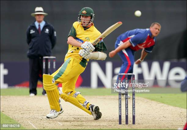 Brett Lee of Australia tries to connect with a delivery from Darren Gough of England in the last over of Australia's innings during the 1st NatWest...