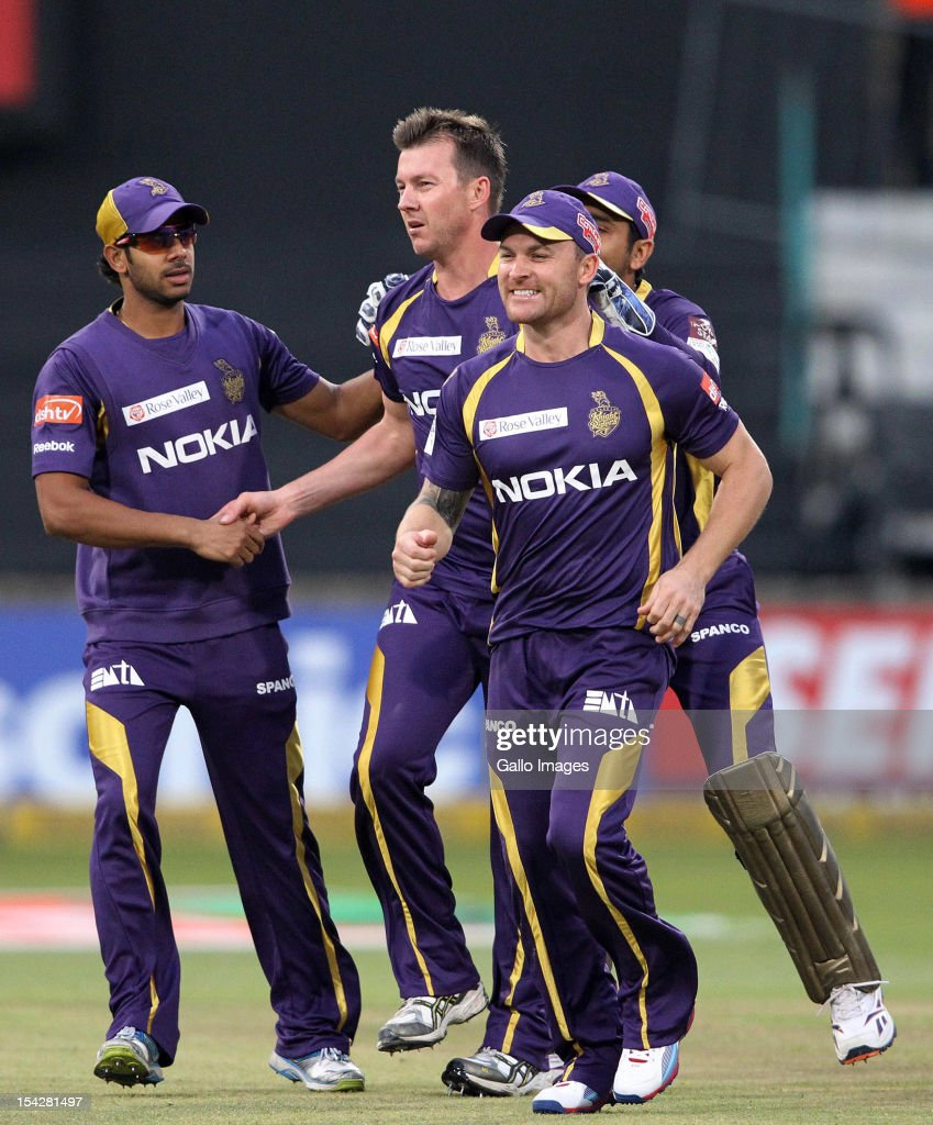 <a gi-track='captionPersonalityLinkClicked' href=/galleries/search?phrase=Brett+Lee&family=editorial&specificpeople=169885 ng-click='$event.stopPropagation()'>Brett Lee</a> of Kolkata Knight Riders is congratulated by team-mates for his wicket during the Karbonn Smart CLT20 match between Kolkata Knight Riders and Perth Scorchers at Sahara Stadium Kingsmead on October 17, 2012 in Durban, South Africa.