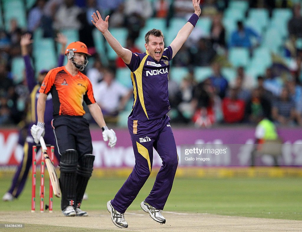 <a gi-track='captionPersonalityLinkClicked' href=/galleries/search?phrase=Brett+Lee&family=editorial&specificpeople=169885 ng-click='$event.stopPropagation()'>Brett Lee</a> of the Kolkata Knight Riders appeals during the Karbonn Smart CLT20 match between Kolkata Knight Riders and Perth Scorchers at Sahara Stadium Kingsmead on October 17, 2012 in Durban, South Africa.
