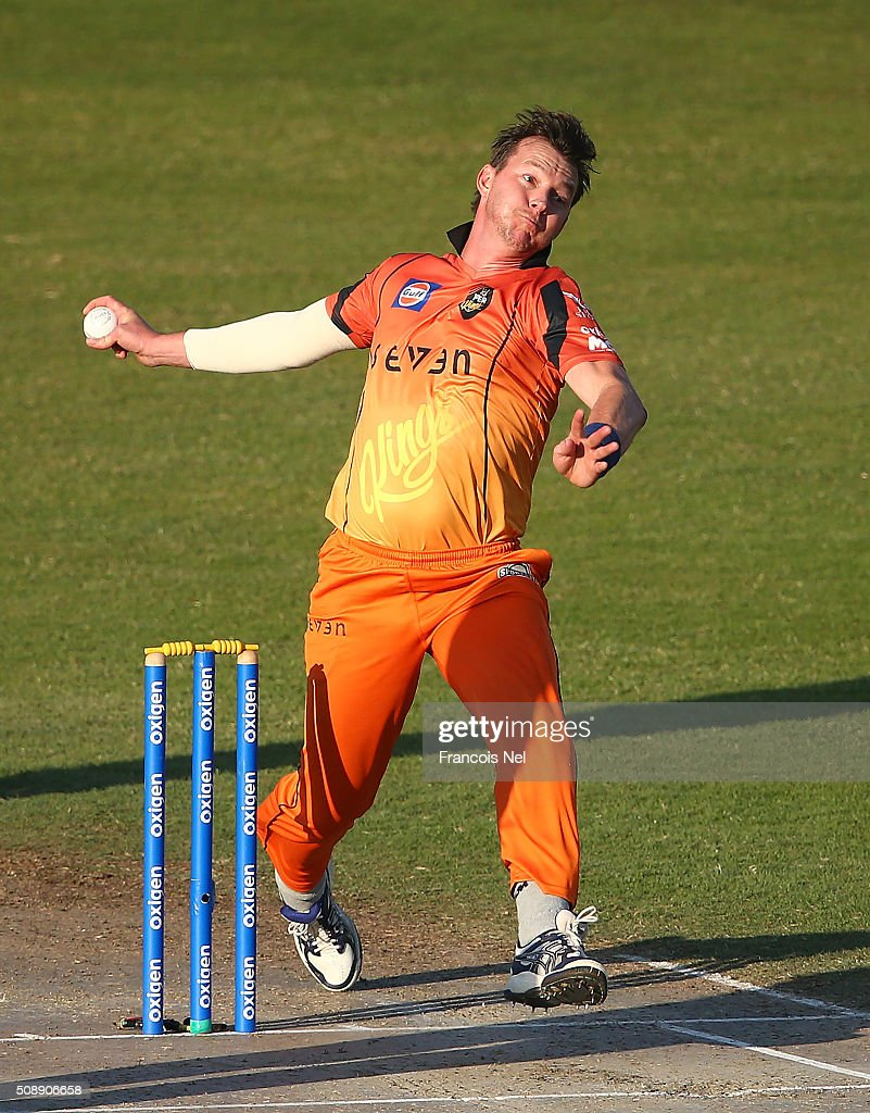 <a gi-track='captionPersonalityLinkClicked' href=/galleries/search?phrase=Brett+Lee&family=editorial&specificpeople=169885 ng-click='$event.stopPropagation()'>Brett Lee</a> of Virgo bowls during the Oxigen Masters Champions League match between Virgo Super Kings and Capricorn Commanders on February 7, 2016 in Sharjah, United Arab Emirates.