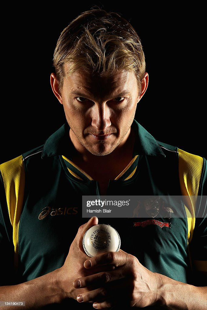 <a gi-track='captionPersonalityLinkClicked' href=/galleries/search?phrase=Brett+Lee&family=editorial&specificpeople=169885 ng-click='$event.stopPropagation()'>Brett Lee</a> poses during an Australian cricket player portrait session at the Hyatt Regency on July 24, 2011 in Coolum, Australia.