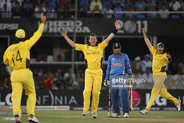 Brett Lee Ricky Ponting and Mike Hussey appeal for the wicket of Virender Sehwag during the 2011 ICC World Cup QuarterFinal match between Australia...