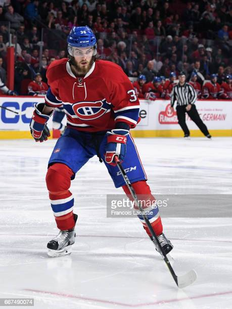 Brett Lernout of the Montreal Canadiens skates against the Tampa Bay Lightning in the NHL game at the Bell Centre on April 7 2017 in Montreal Quebec...