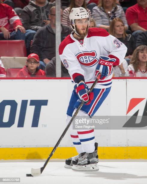 Brett Lernout of the Montreal Canadiens skates with the puck against the Detroit Red Wings during an NHL game at Joe Louis Arena on April 8 2017 in...