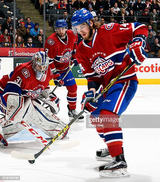 Brett Lernout of the St John's IceCaps controls the puck against the Toronto Marlies during game action on March 26 2016 at Air Canada Centre in...