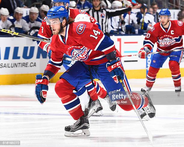 Brett Lernout of the St John's IceCaps skates up ice against the Toronto Marlies during game action on March 26 2016 at Air Canada Centre in Toronto...