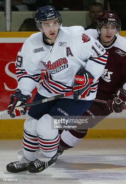 Brett MacLean of the Oshawa Generals skates in a game against the Peterborough Petes on January 19 2008 at the Peterborough Memorial Centre in...