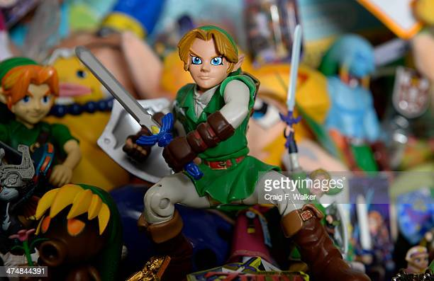 Brett Martin has two shelves dedicated to Link of The Legend of Zelda series in his 'Video Game Memorabilia Museum' at his home in Littleton CO...