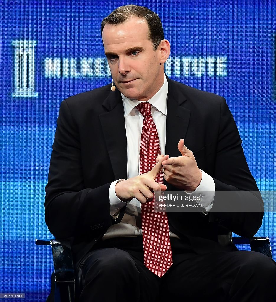 Brett McGurk of the US State Department's Global Coalition to Counter ISIL, speaks during the lunch programme panel 'ISIS and Global Terrorism: What It Will Take to Defeat Them' at the 2016 Milken Institute Global Conference in Beverly Hills, California on May 3, 2016. / AFP / FREDERIC