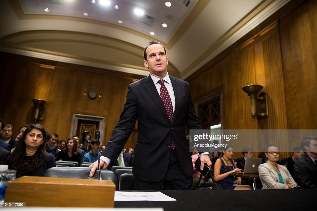 Brett McGurk, Special Presidential Envoy for the Global Coalition to Counter ISIL, takes his seat before testifying at a Senate Foreign Relations Committee hearing on the global efforts to defeat ISIS at the U.S. Capitol in Washington, USA on June 28, 2016.