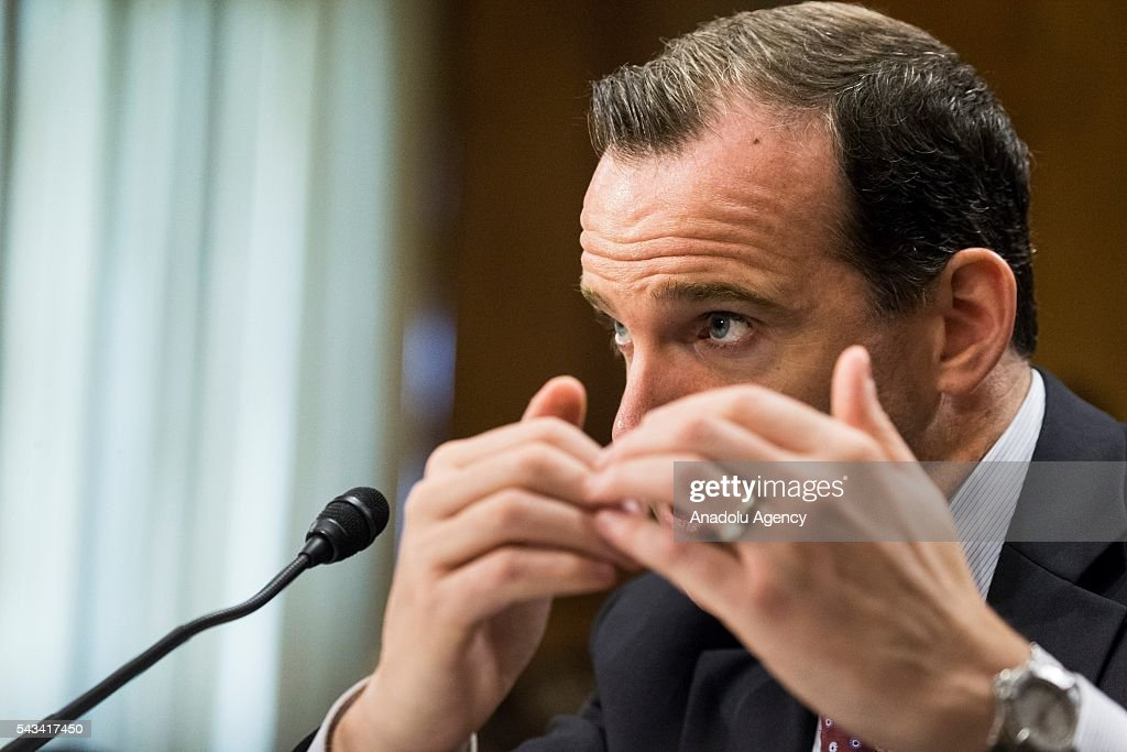 Brett McGurk, Special Presidential Envoy for the Global Coalition to Counter ISIL, answers questions from Senators during a Senate Foreign Relations Committee hearing on the global efforts to defeat ISIS at the U.S. Capitol in Washington, USA on June 28, 2016.