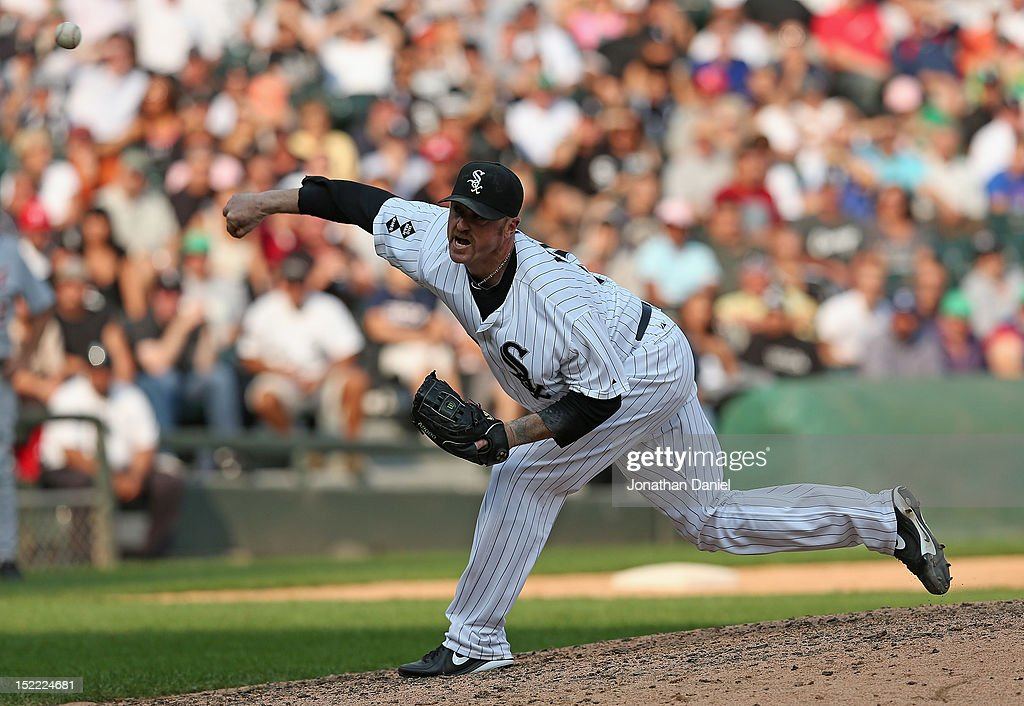 Brett Meyers #39 of the Chicago White Sox pitches in the 9th inning against the Detroit Tigers at U.S. Cellular Field on September 17, 2012 in Chicago, Illinois. The White Sox defeated the Tigers 5-4.