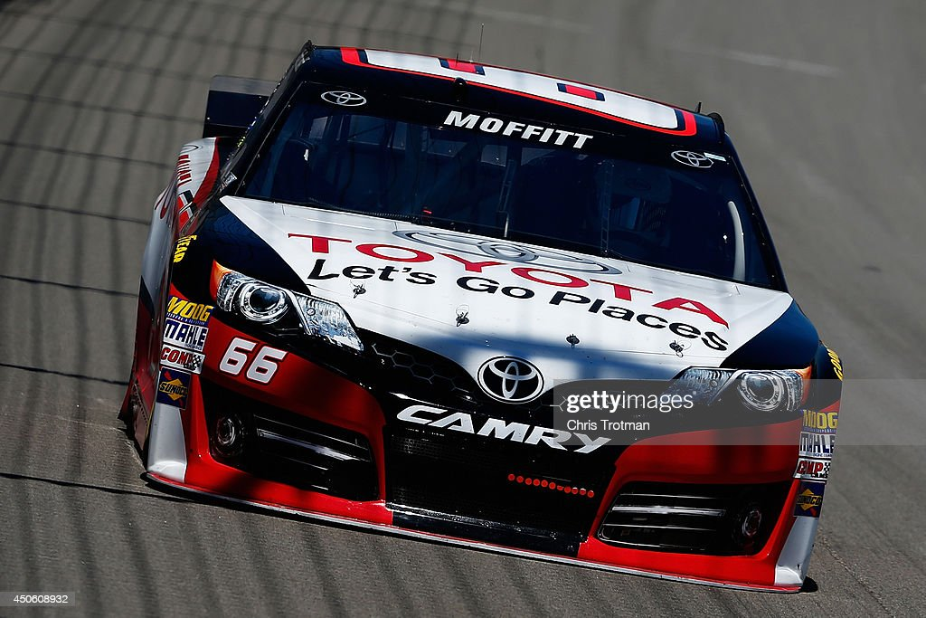 Brett Moffitt, driver of the #66 Toyota Let's Go Places Toyota, practices for the NASCAR Sprint Cup Series Quicken Loans 400 at Michigan International Speedway on June 14, 2014 in Brooklyn, Michigan.