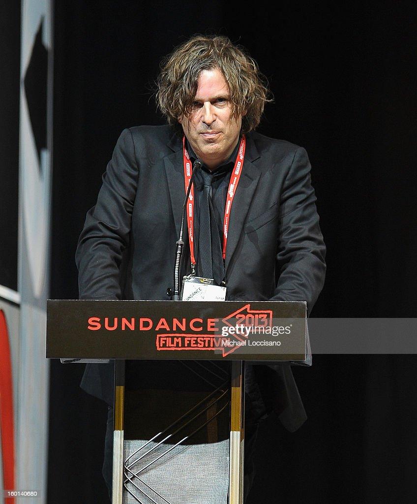Brett Morgan speaks onstage at the Awards Night Ceremony during the 2013 Sundance Film Festival at Basin Recreation Field House on January 26, 2013 in Park City, Utah.