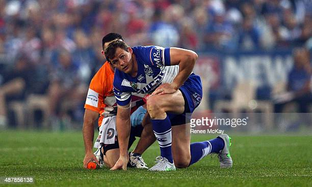 Brett Morris of the Bulldogs is injured during the NRL Elimination Final match between the Canterbury Bulldogs and the St George Illawarra Dragons at...
