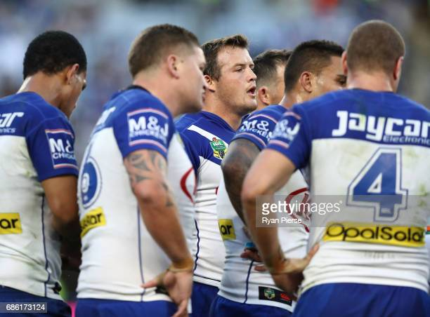 Brett Morris of the Bulldogs looks dejected during the round 11 NRL match between the Canterbury Bulldogs and the Sydney Roosters at ANZ Stadium on...