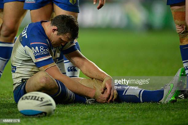 Brett Morris of the Bulldogs shows his dejection during the First NRL Semi Final match between the Sydney Roosters and the Canterbury Bulldogs at...