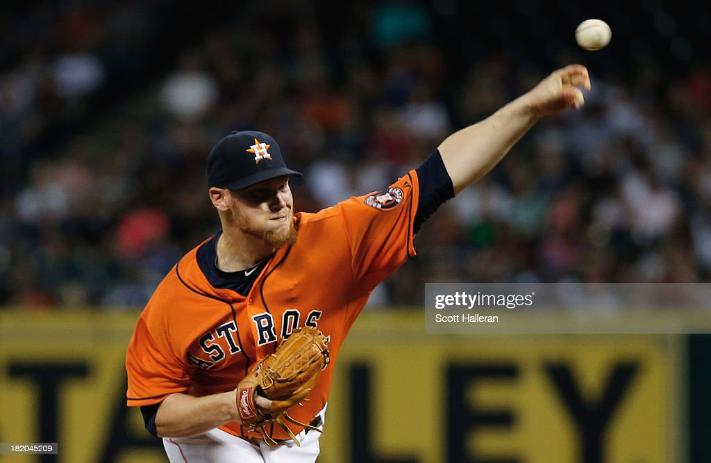 Brett Oberholtzer #46 of the Houston Astros throws a pitch in the first inning against the New York Yankees at Minute Maid Park on September 27, 2013 in Houston, Texas.
