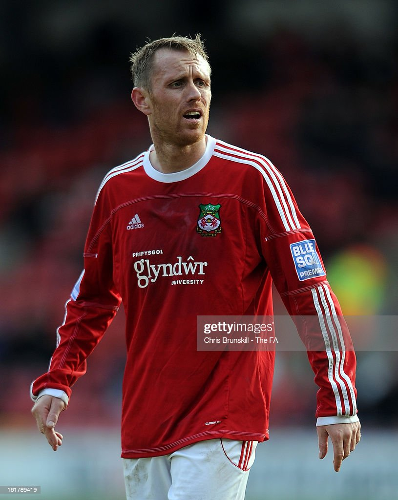 <a gi-track='captionPersonalityLinkClicked' href=/galleries/search?phrase=Brett+Ormerod&family=editorial&specificpeople=240459 ng-click='$event.stopPropagation()'>Brett Ormerod</a> of Wrexham looks on during the FA Trophy Semi-Final match between Wrexham and Gainsborough Trinity at the Racecourse Ground on February 16, 2013 in Wrexham, Wales.