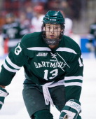 Brett Patterson of the Dartmouth College Big Green skates against the Boston University Terriers during NCAA hockey action at Agganis Arena on...