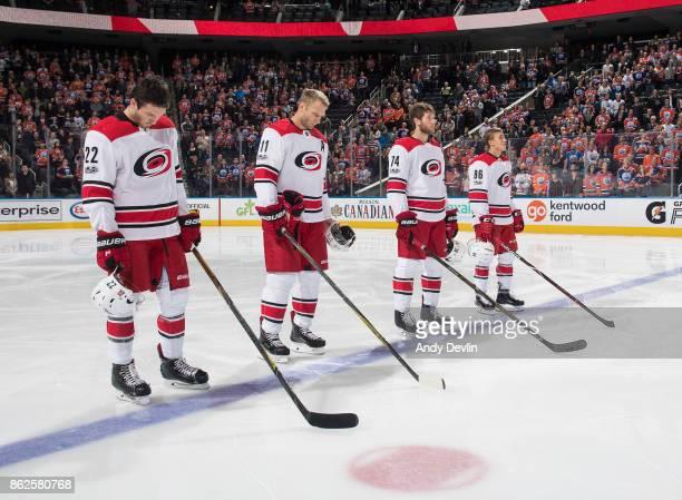 Brett Pesce Jordan Staal Jaccob Slavin and Teuvo Teravainen of the Carolina Hurricanes line up against the Edmonton Oilers on October 17 2017 at...