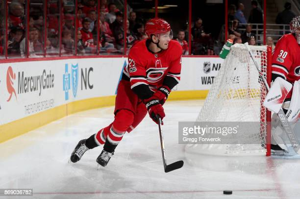 Brett Pesce of the Carolina Hurricanes carries a puck out from behind the net during an NHL game against St Louis Blues on October 27 2017 at PNC...