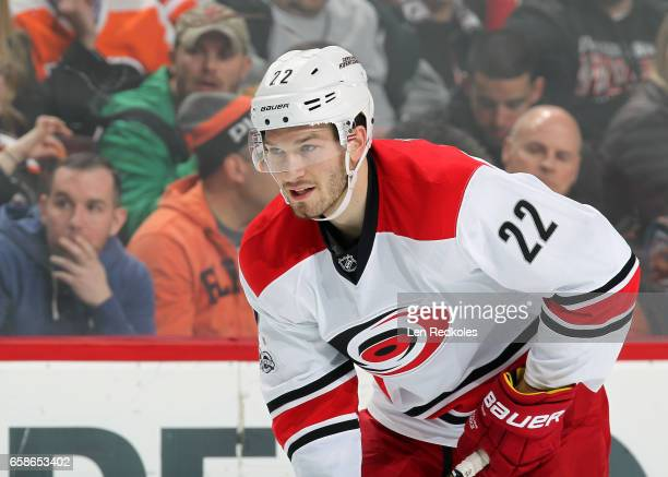Brett Pesce of the Carolina Hurricanes looks on against the Philadelphia Flyers on March 19 2017 at the Wells Fargo Center in Philadelphia...