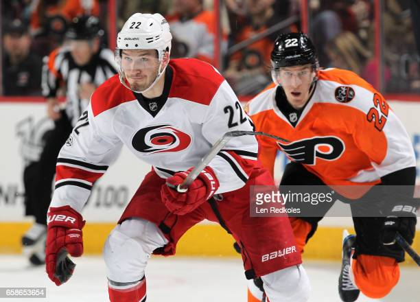 Brett Pesce of the Carolina Hurricanes skates against the Philadelphia Flyers on March 19 2017 at the Wells Fargo Center in Philadelphia Pennsylvania