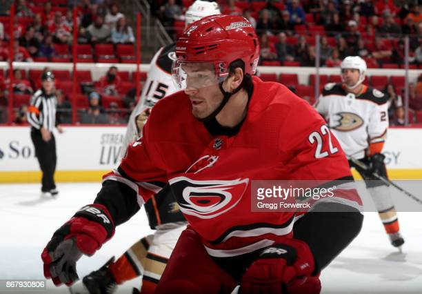 Brett Pesce of the Carolina Hurricanes skates for position during an NHL against the Anaheim Ducks on October 29 2017 at PNC Arena in Raleigh North...