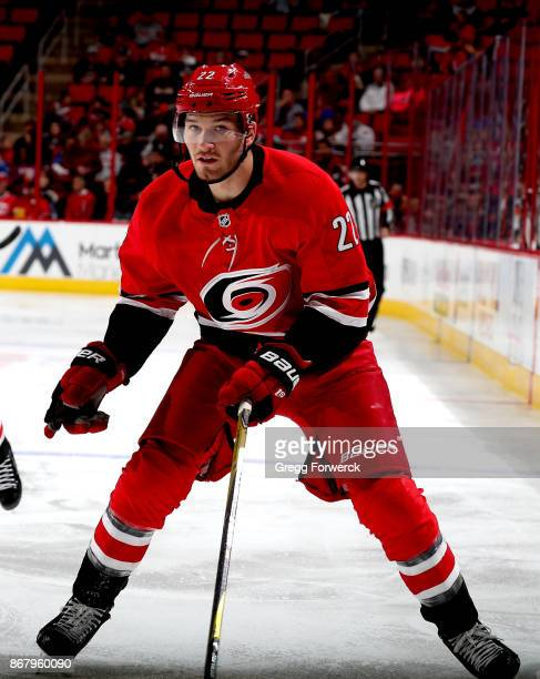 Brett Pesce of the Carolina Hurricanes skates for position during an NHL game against the Anaheim Ducks on October 29 2017 at PNC Arena in Raleigh...