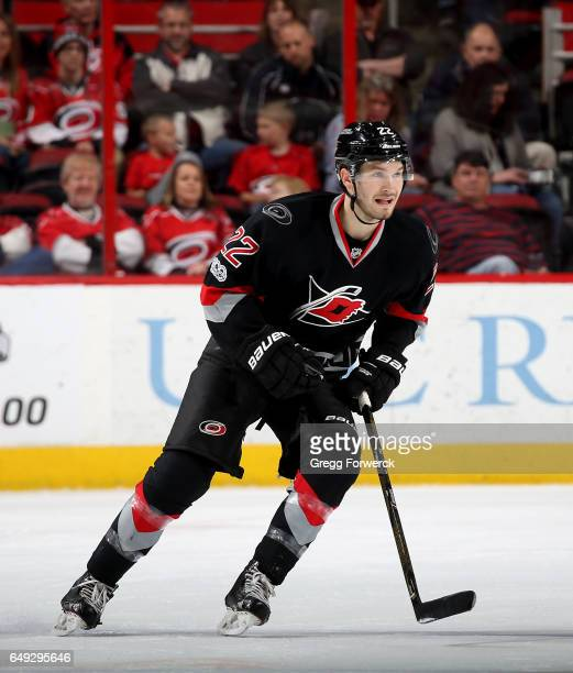 Brett Pesce of the Carolina Hurricanes skates for position on the ice during an NHL game against the Arizona Coyotes on March 3 2017 at PNC Arena in...