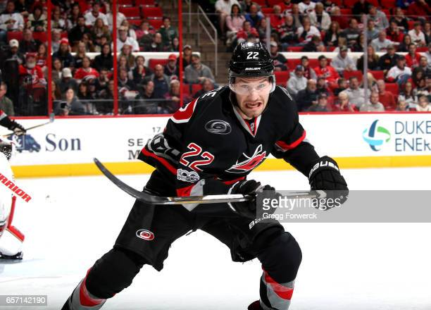 Brett Pesce of the Carolina Hurricanes skates for position on the ice during an NHL game against the Minnesota Wild on March 16 2017 at PNC Arena in...
