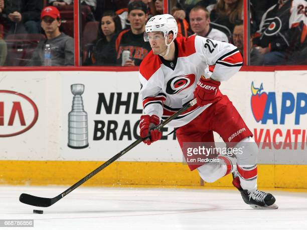Brett Pesce of the Carolina Hurricanes skates the puck against the Philadelphia Flyers on April 9 2017 at the Wells Fargo Center in Philadelphia...