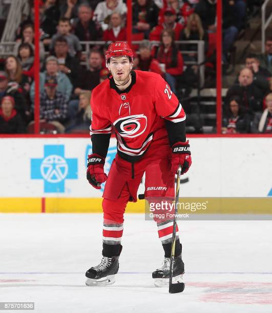 Brett Pesce of the Carolina Hurricanes skates to a defensive position during an NHL game against the Chicago Blackhawks on November 11 2017 at PNC...