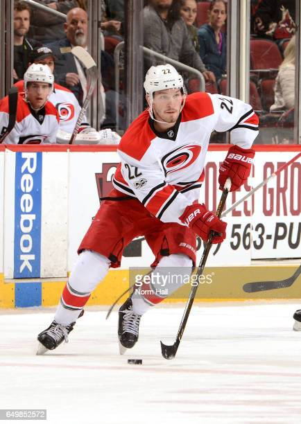 Brett Pesce of the Carolina Hurricanes skates with the puck against the Arizona Coyotes at Gila River Arena on March 5 2017 in Glendale Arizona
