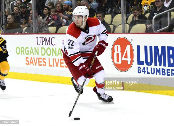 Brett Pesce of the Carolina Hurricanes skates with the puck against the Pittsburgh Penguins at PPG PAINTS Arena on April 2 2017 in Pittsburgh...