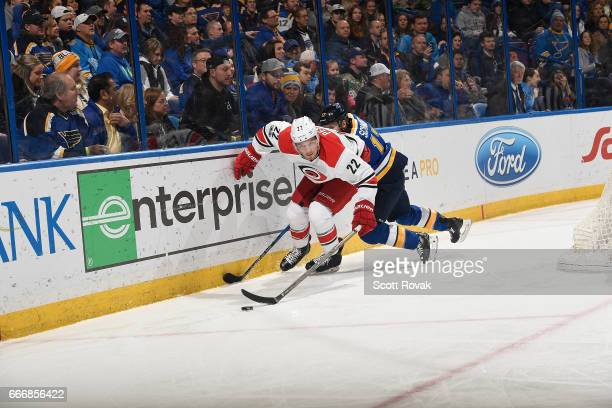 Brett Pesce shoots the puck against the Carolina Hurricanes in action against the St Louis Blues on January 5 2017 at Scottrade Center in St Louis...