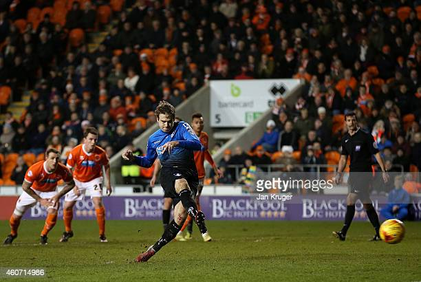 Brett Pitman of AFC Bournemouth scores from the penalty during the Sky Bet Championship match between Blackpool and Bournemouth at Bloomfield Road on...