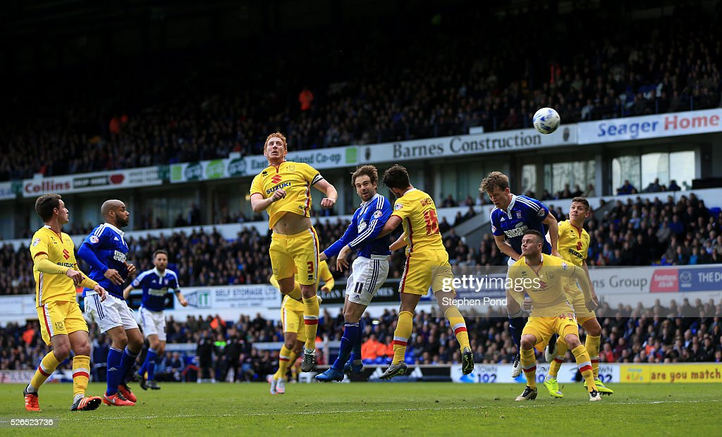 Brett Pitman of Ipswich Town scores his sides second goal during the Sky Bet Championship match between Ipswich Town and Milton Keynes Dons at Portman Road on April 30, 2016 in Ipswich, England.