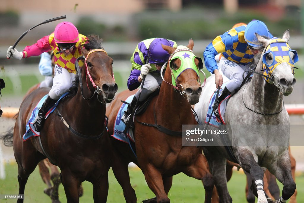 <a gi-track='captionPersonalityLinkClicked' href=/galleries/search?phrase=Brett+Prebble&family=editorial&specificpeople=646298 ng-click='$event.stopPropagation()'>Brett Prebble</a> riding Golden Sunshine, Nicholas Hall riding Broken (winner) and Ben Melham riding Chosen to Fly in the 1Print.com.au Carlyon Stakes during Melbourne Racing at Moonee Valley Racecourse on August 24, 2013 in Melbourne, Australia.