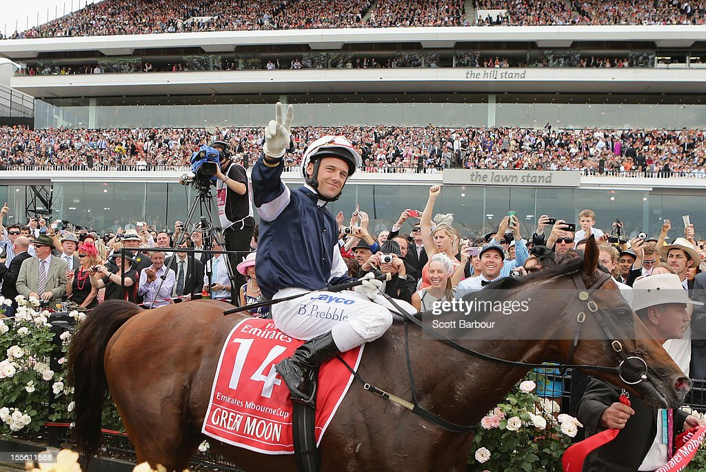 Brett Prebble riding Green Moon celebrates as he returns to the scales after winning the Emirates Melbourne Cup race during 2012 Melbourne Cup Day at Flemington Racecourse on November 6, 2012 in Melbourne, Australia.