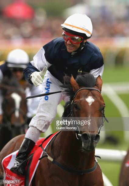 Brett Prebble riding Green Moon celebrates winning the Emirates Melbourne Cup during 2012 Melbourne Cup Day at Flemington Racecourse on November 6...