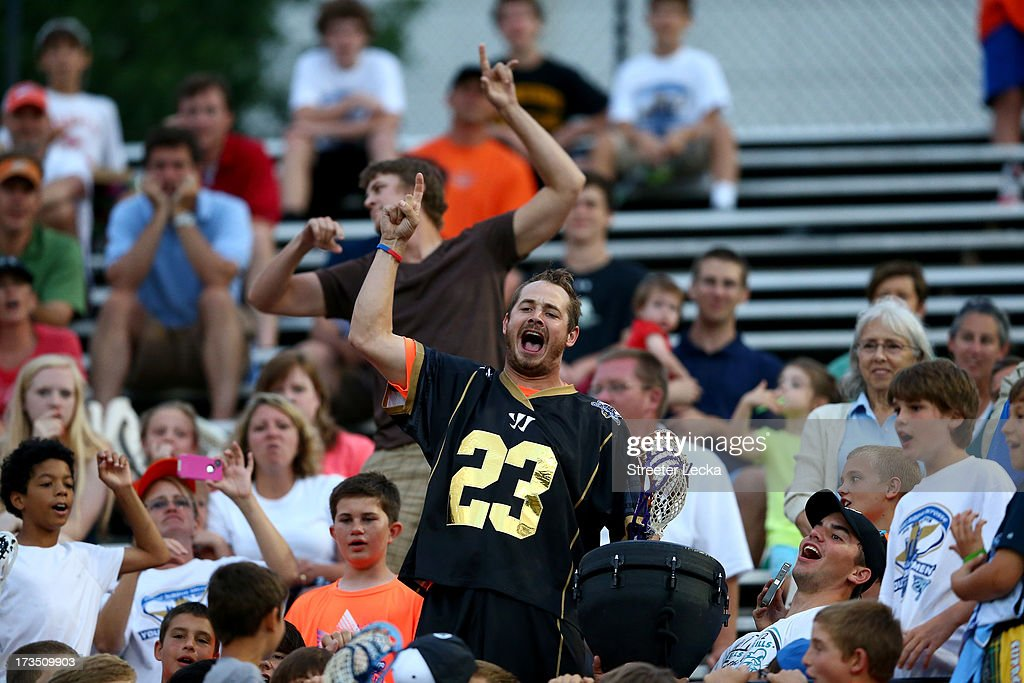 Brett Queener #23 of Eclipse reacts with the crowd during halftime during the Skills Competition at the 2013 Major League Lacrosse All Star Game at American Legion Memorial Stadium on July 13, 2013 in Charlotte, North Carolina.
