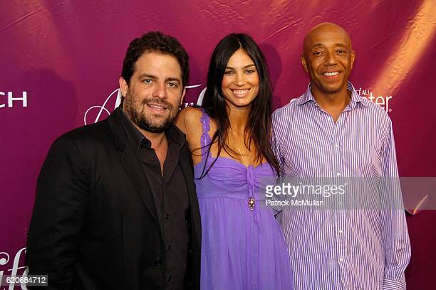 Brett Ratner Alina Puscau and Russell Simmons attend Rush Philanthropic's Annual ART FOR LIFE GALA 2008 at Private Residence on July 19 2008 in East...