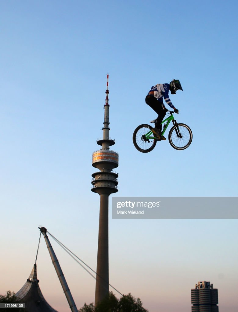 Brett Rheeder of Canada competes in the Mountain Bike Slopestyle Final competition at Munich Olympic Park on Day 4 of the X-Games on June 30, 2013 in Munich, Germany.