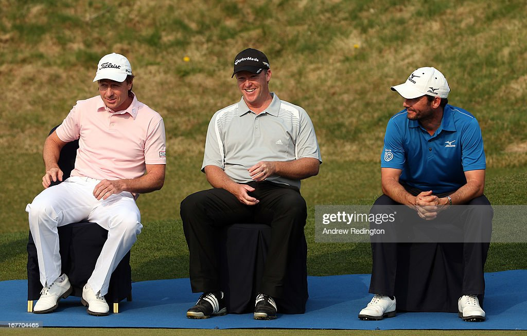 Brett Rumford and Marcus Fraser (both of Australia ) share a joke with Peter Whiteford of Scotland during the prize-giving for the Ballantine's Championship at Blackstone Golf Club on April 28, 2013 in Icheon, South Korea.