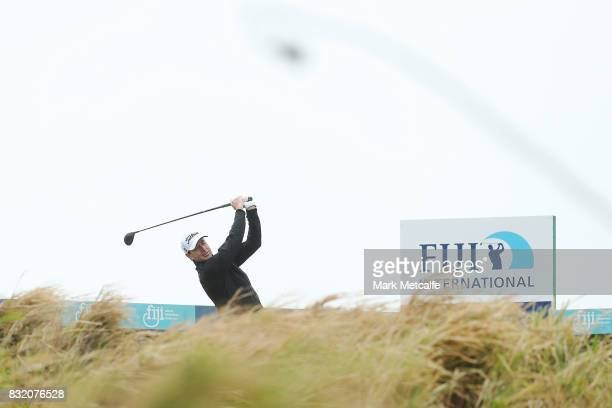 Brett Rumford of Australia hits a tee shot during the proam ahead of the 2017 Fiji International at Natadola Bay Championship Golf Course on August...