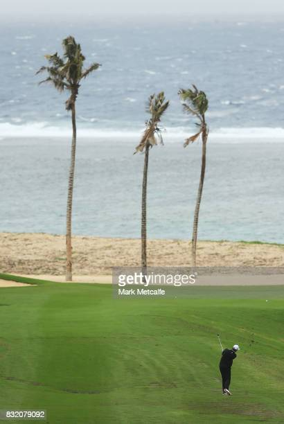 Brett Rumford of Australia hits an approach shot during the proam ahead of the 2017 Fiji International at Natadola Bay Championship Golf Course on...