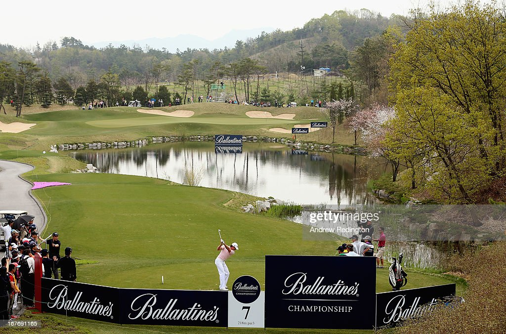 Brett Rumford of Australia hits his tee-shot on the seventh hole during the final round of the Ballantine's Championship at Blackstone Golf Club on April 28, 2013 in Icheon, South Korea.