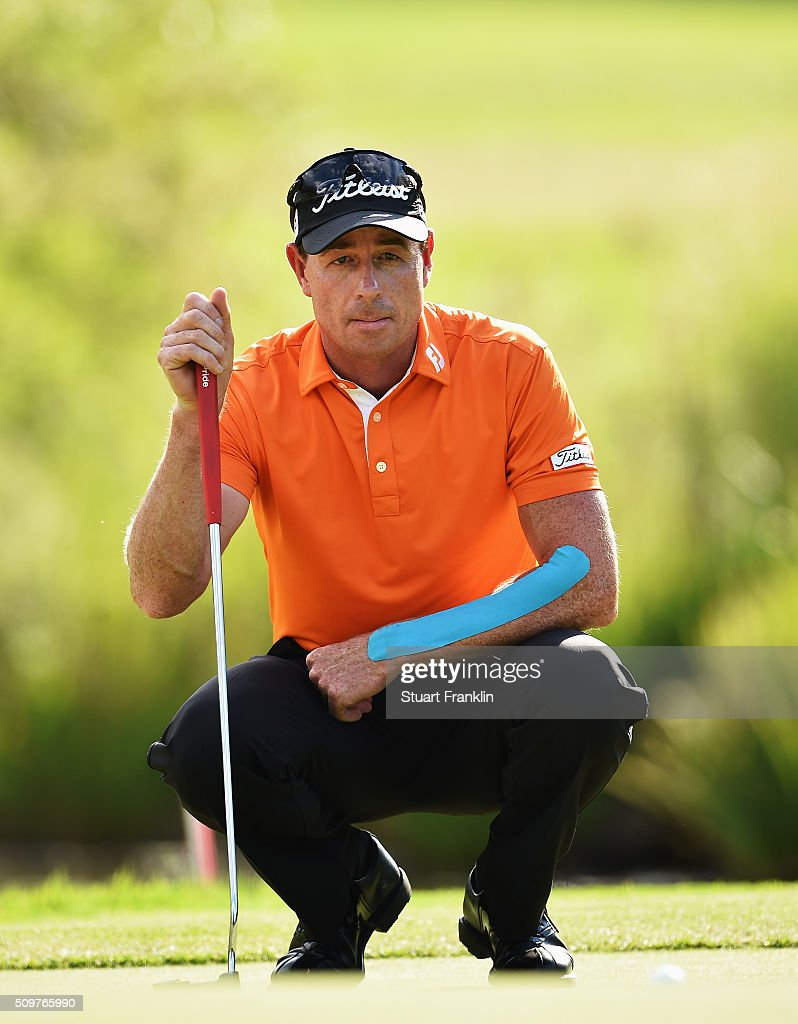<a gi-track='captionPersonalityLinkClicked' href=/galleries/search?phrase=Brett+Rumford&family=editorial&specificpeople=216614 ng-click='$event.stopPropagation()'>Brett Rumford</a> of Australia lines up a putt during the second round of the Tshwane Open at Pretoria Country Club on February 12, 2016 in Pretoria, South Africa.